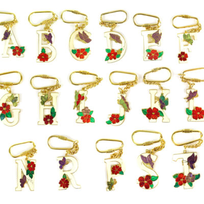 Vintage Initial Letter Enamel Flower Key Chain