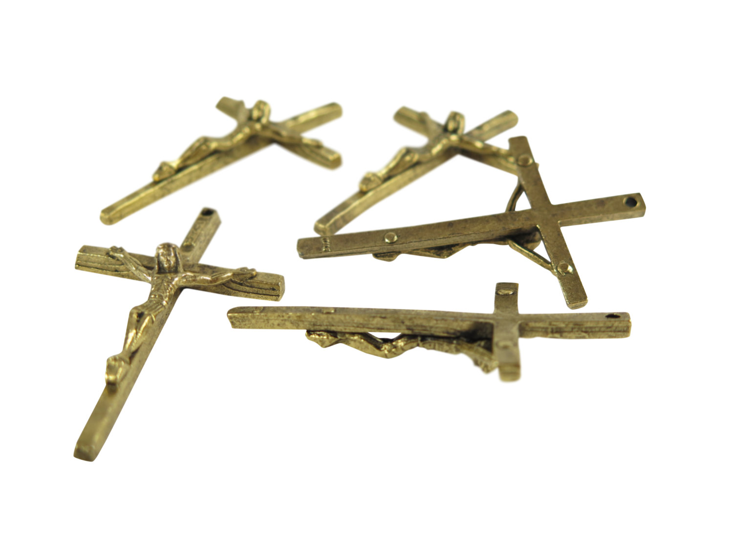 Antiqued Gold Plated Pewter Jesus on the Cross Pendants
