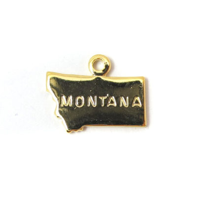 Engraved Tiny GOLD Plated on Raw Brass Montana State Charms
