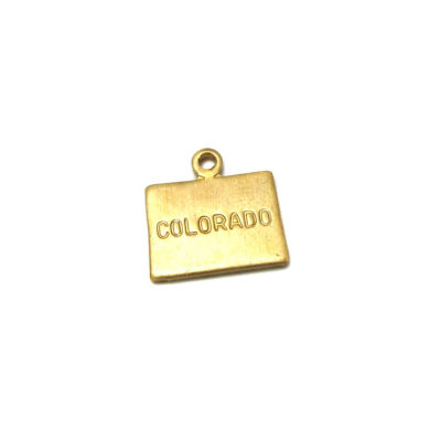 raw brass engraved colorado state charms