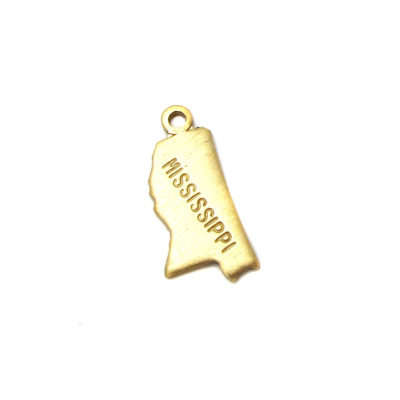 Engraved Tiny Raw Brass Mississippi State Charms