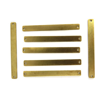 Engraving Rectangle Stick Charms with 2 Holes (8X) (M834)
