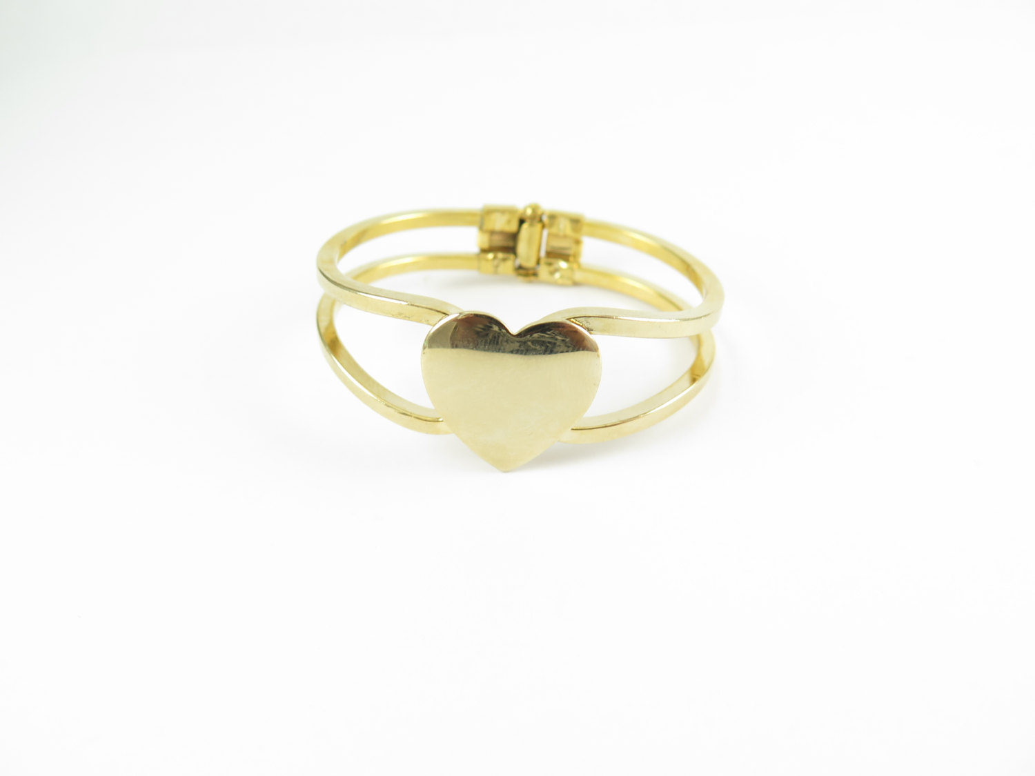 Gold Plated Engraving Heart Cuff Bracelet