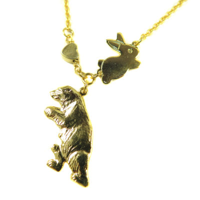 gold plated bear with bunny and heart necklace
