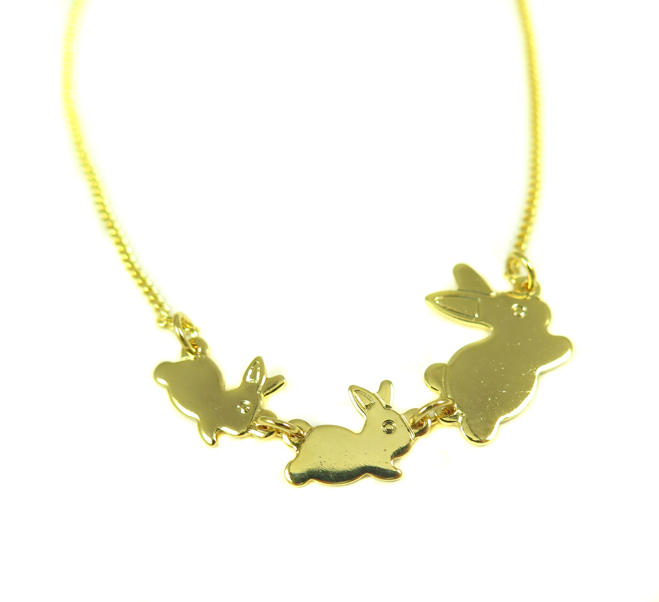 Bronze Bunny Necklace with 18