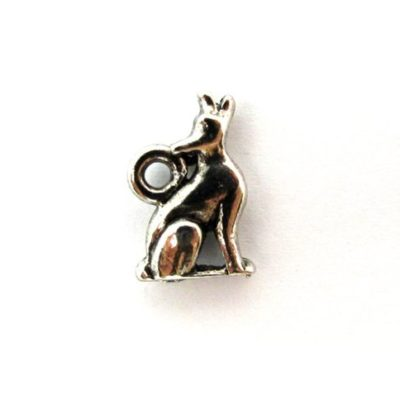 silver plated howling wolf charm
