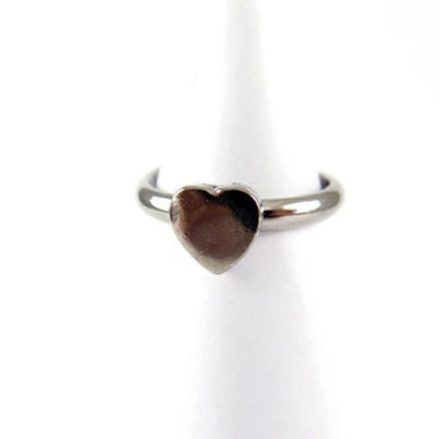 rhodium plated heart ring