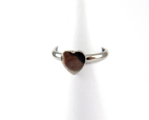 rhodium plated heart ring