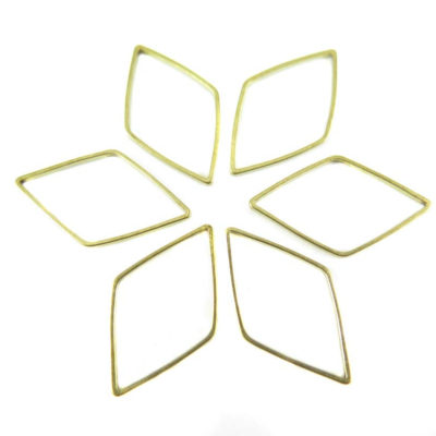 Raw Brass Diamond Shape Wire Charms