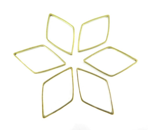 Raw Brass Diamond Shape Wire Charms