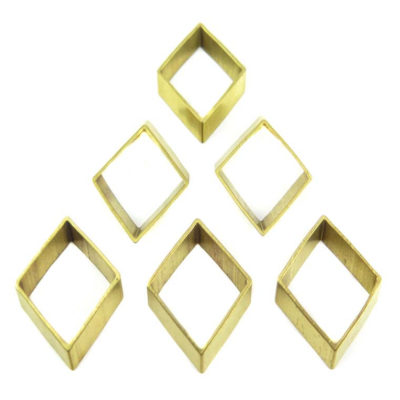 Raw Brass Geometric Diamond Charms
