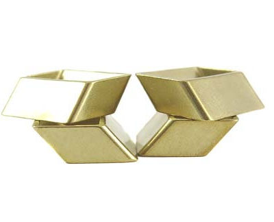 Raw Brass Rectangle Rhombus Tube Charms