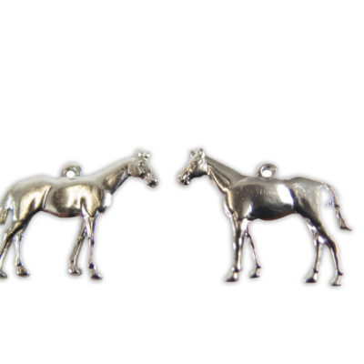 rhodium plated silver tone horse charm