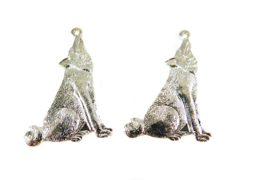 Rhodium Plated Howling Wolf Charm