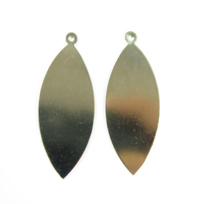 Rhodium Plated Pointed Oval Engraving Pendants
