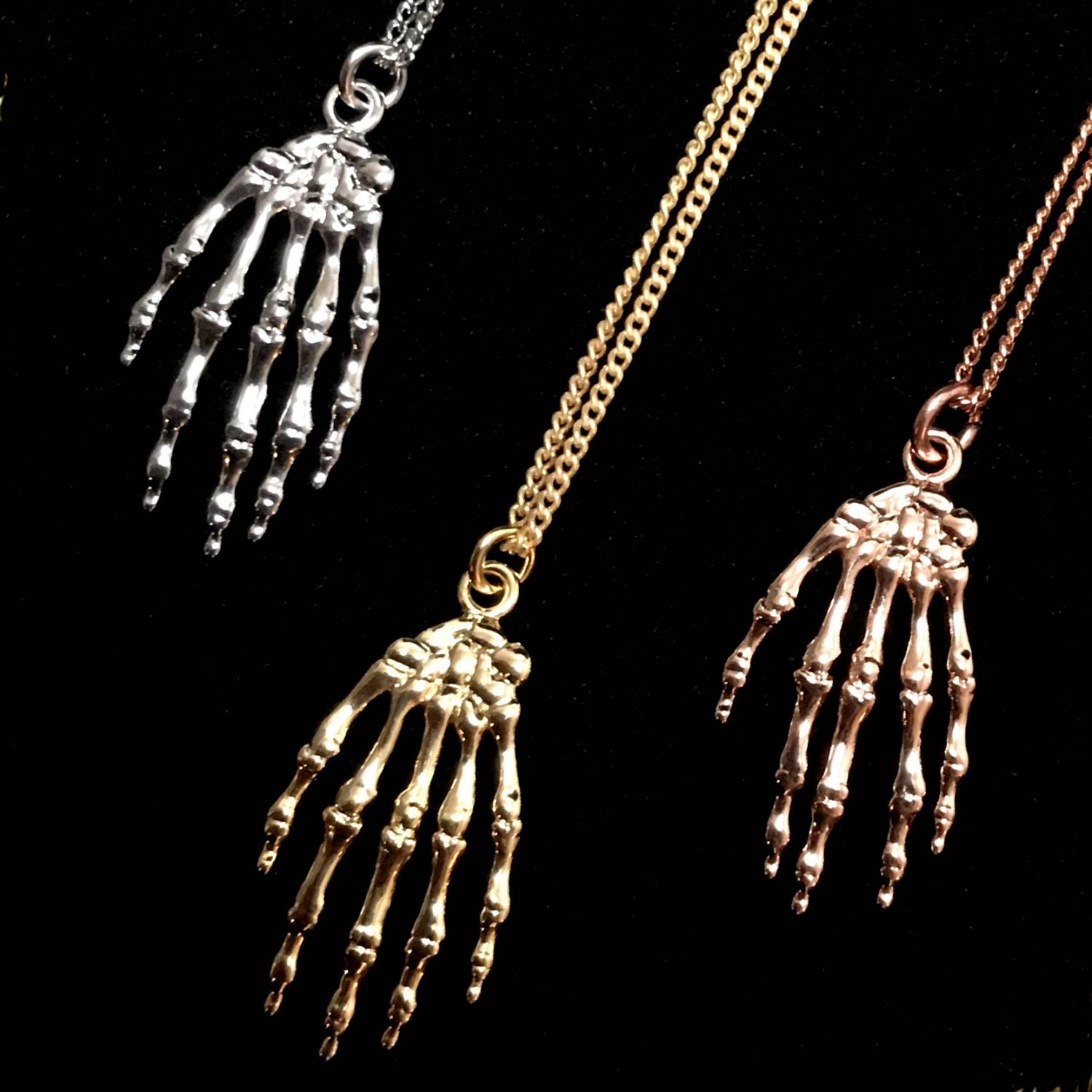Skeletal Hand Necklace Select Your Finish Brooklyn Charm