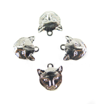 Small Rhodium Plated Cat Charms