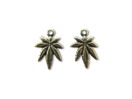 Tiny Antiqued Brass Marijuana Charms