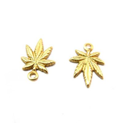 Tiny Brass Marijuana Charms