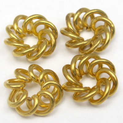Vintage Brass Spiral Wire Knot Charms