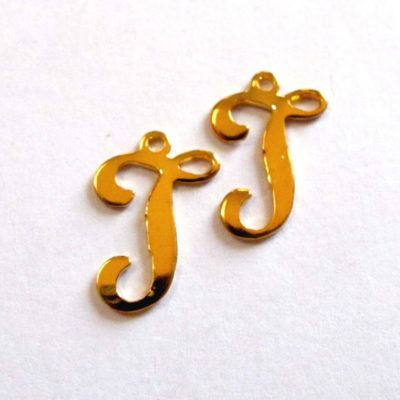 Vintage Gold Plated Script Initial Letter T or J