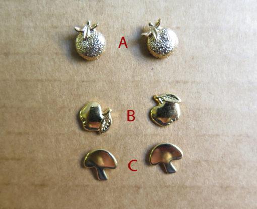Vintage Gold Plated Stud Earrings - Peach/Orange - Apple - Mushroom - You Choose