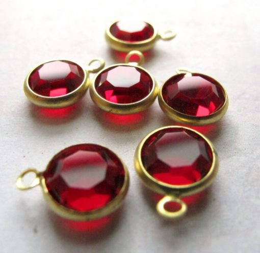 red channel Swarovski charms