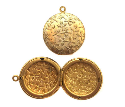 vintage brass round locket with twig texture