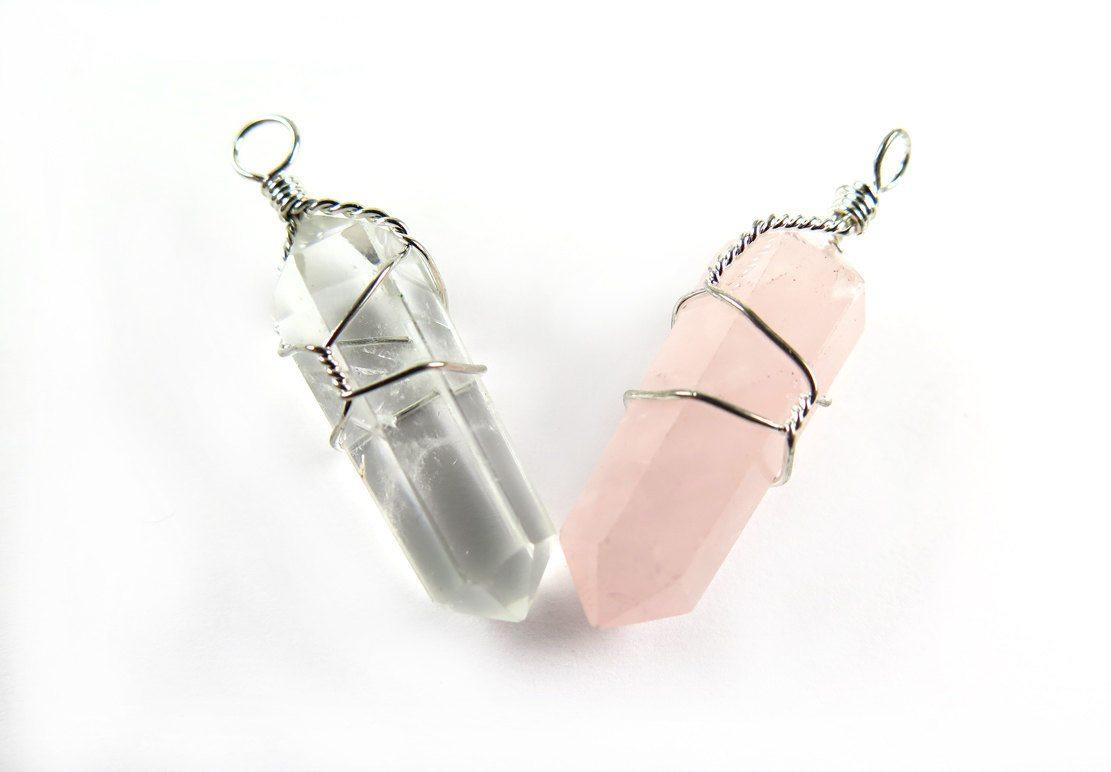 Wire wrapped quartz point pendant necklace clear quartz and rose wire wrapped quartz point pendant aloadofball Images