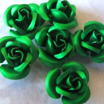Anodized Aluminum Green Rose Charms/Beads