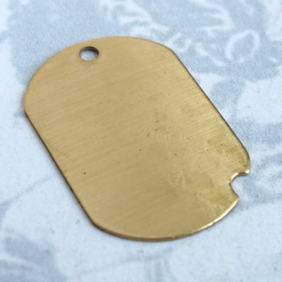 brass dog tag charm