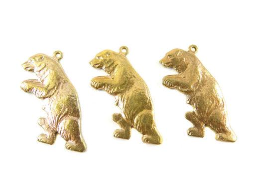 Brass Walking Bear Charms