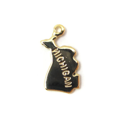 Engraved Tiny GOLD Plated on Raw Brass Michigan State Charms