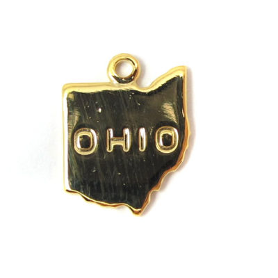 Engraved Tiny Gold Plated on Raw Brass Ohio State Charms