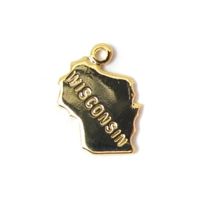 Engraved Tiny GOLD Plated on Raw Brass Wisconsin State Charms