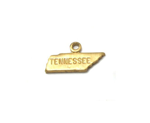 Engraved - Tiny Raw Brass Tennessee State Charms