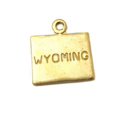 Engraved - Tiny Raw Brass Wyoming State Charms
