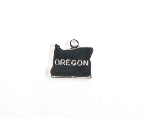 Engraved Tiny SILVER Plated on Raw Brass Oregon State Charms