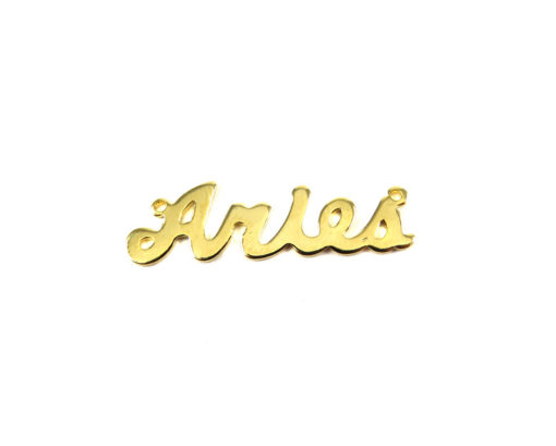 Gold Plated Astrological Name Plate Pendants - Aries
