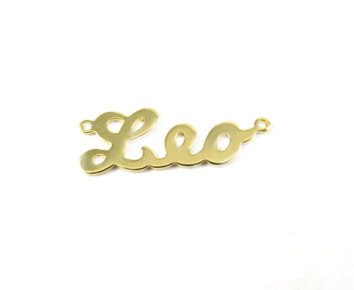 Gold Plated Astrological Name Plate Pendants - Leo
