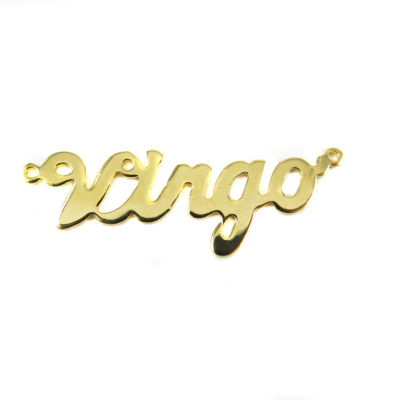 Gold Plated Astrological Name Plate Pendants - Virgo