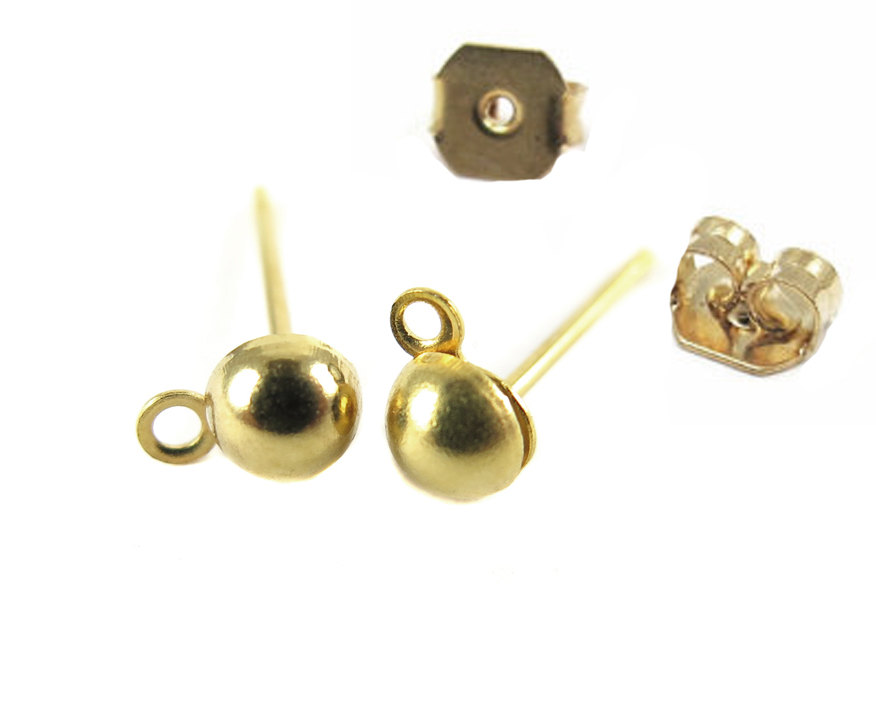 Gold Plated Domed Stud Earring Findings