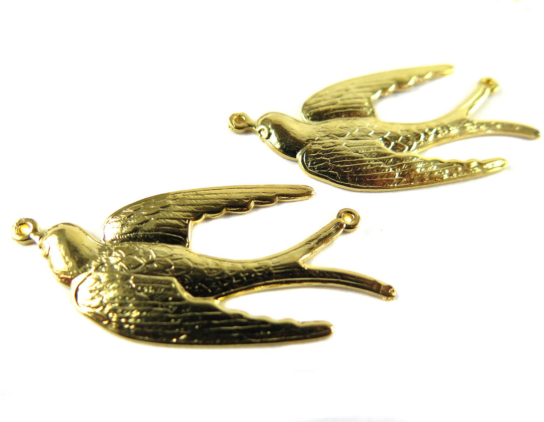 Flying sparrow bird pendant brooklyn charm gold plated flying sparrow bird pendant aloadofball Images
