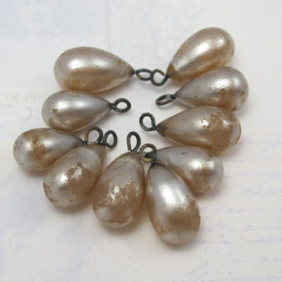 dirty faux pearl glass drop charms