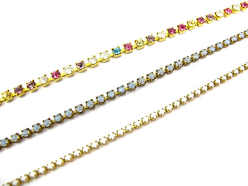 brass rainbow Swarovski chain