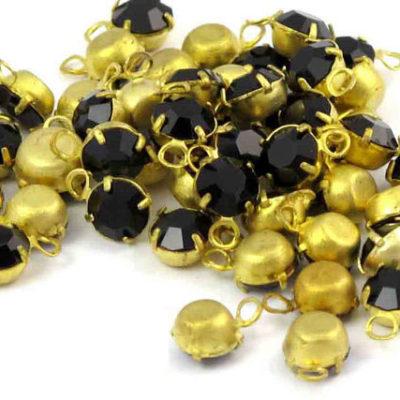black Swarovski rhinestone charms