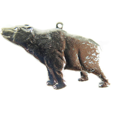 Rhodium Plated California Bear Pendants