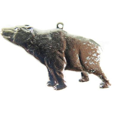 Rhodium Plated California Bear Pendants