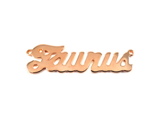 Rose Gold Plated Astrological Name Plate Pendants - Taurus