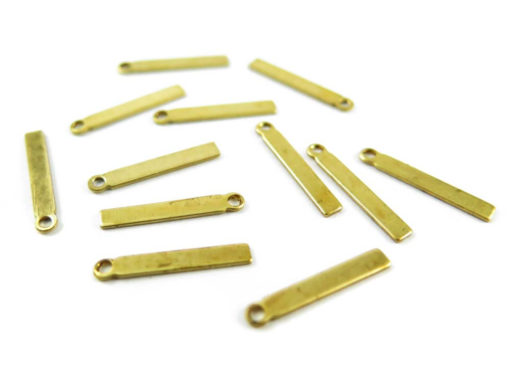 Small Brass Engraving Rectangle Stick Charms - with bail